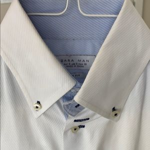 Zara white dress shirt with reinforced collar